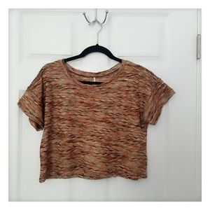 NWOT Free People XS Rainbow Wave Crewneck Crop Top